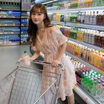 Nursing clothes Pink M,L,XL,2XL Socket summer Short sleeve Medium length leisure time Dress Decor Chiffon