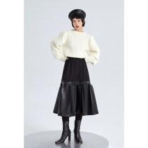 skirt Winter 2020 S, M black Mid length dress Retro High waist Type A 18-24 years old