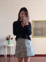 skirt Autumn of 2018 S,M,L Black and white leopard print Middle-skirt commute High waist A-line skirt Leopard Print Type A 18-24 years old The fish didn't go Retro