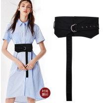 Belt / belt / chain cloth black female belt Versatile Single loop Youth, youth, middle age Glossy surface soft surface 14cm alloy alone