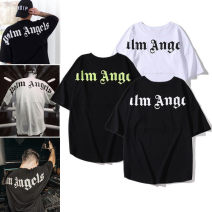 T-shirt Youth fashion routine M,L,XL,2XL Others elbow sleeve Crew neck easy daily summer teenagers Off shoulder sleeve Hip hop 2021 Alphanumeric cotton