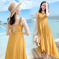 Dress Summer 2020 Picture color S,M,L,XL Miniskirt singleton  Sleeveless Sweet V-neck Loose waist Irregular skirt other camisole 18-24 years old 91% (inclusive) - 95% (inclusive) Chiffon