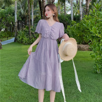 Dress Summer 2020 Orange, purple S,M,L,XL longuette singleton  Short sleeve commute V-neck High waist Solid color other A-line skirt routine Others Type A Korean version 91% (inclusive) - 95% (inclusive) Chiffon polyester fiber