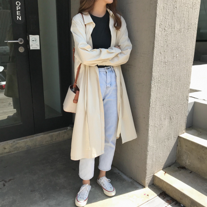 Windbreaker Winter of 2018 Average size Beige Long sleeves routine Medium length commute Frenulum routine Solid color Straight cylinder Korean version 18-24 years old 96% and above cotton