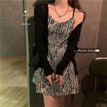 Dress Autumn 2020 Black jacket 8651, zebra dress 3454# S. M, l, average size Mid length dress singleton  Sleeveless commute High waist stripe A-line skirt camisole 18-24 years old Korean version 30% and below