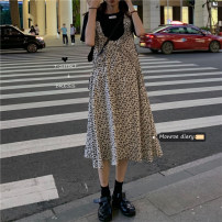 Dress Spring 2021 Black T-shirt, floral dress Average size longuette singleton  Sleeveless commute Crew neck Loose waist Decor Socket routine straps 18-24 years old Type H Other / other Korean version 30% and below Chiffon