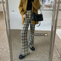 Casual pants Plaid pants S,M,L Winter 2020 trousers Flared trousers High waist commute routine 18-24 years old 30% and below Retro