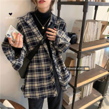 shirt Picture color Average size Winter 2020 other 30% and below Long sleeves commute Medium length Polo collar Single row multi button routine lattice 18-24 years old Straight cylinder Other / other Korean version