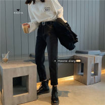 Jeans Winter 2020 Black with fleece, black without velvet S,M,L trousers High waist Knickerbockers thickening 18-24 years old washing