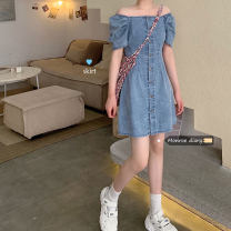 Dress Spring 2021 blue S,M,L Short skirt singleton  Short sleeve commute square neck High waist Single breasted A-line skirt Others 18-24 years old Type A Korean version 30% and below Denim
