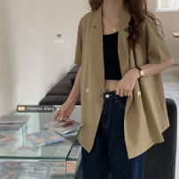 suit Summer 2021 White, Khaki Average size Short sleeve Medium length easy tailored collar Single breasted Versatile Solid color 18-24 years old 30% and below