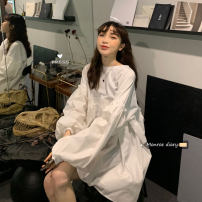 Dress Autumn 2020 White, black Average size Mid length dress singleton  Long sleeves commute Crew neck High waist Solid color Socket Big swing 18-24 years old Korean version 30% and below