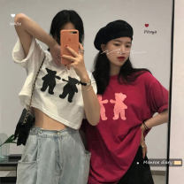 T-shirt Black long, black short, pitaya long, pitaya short, white long, white short Average size Summer 2021 Short sleeve Crew neck easy have cash less than that is registered in the accounts routine commute other 30% and below 18-24 years old Korean version originality Cartoon animation Gauze