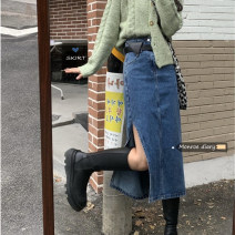 skirt Spring 2021 S,M,L Blue ( With belt) Mid length dress Retro High waist other Solid color Type A 18-24 years old 30% and below other other pocket