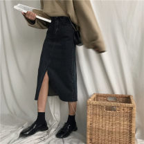 skirt Autumn of 2019 S,M,L black Mid length dress commute High waist Solid color 18-24 years old 30% and below Denim cotton Korean version