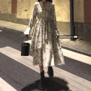 Dress Autumn 2020 Off white Average size Mid length dress singleton  Long sleeves commute middle-waisted Broken flowers Socket A-line skirt 18-24 years old Korean version 30% and below