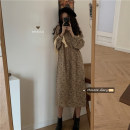 Dress Spring 2021 Apricot, yellow Average size Mid length dress singleton  Long sleeves commute Crew neck High waist Decor other routine Others 18-24 years old Type A Retro 30% and below other