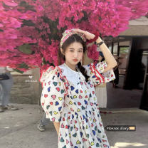 Dress Summer 2021 White dress, dark blue dress, white baby collar Average size Mid length dress singleton  Short sleeve commute Crew neck High waist Decor Socket other Others 18-24 years old Type A Retro 30% and below