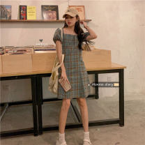 Dress Summer 2021 Dark blue, green, pink Average size Middle-skirt singleton  Short sleeve commute square neck High waist lattice zipper A-line skirt puff sleeve Others 18-24 years old Type A Other / other Korean version 30% and below