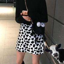 skirt Winter of 2019 S, M Short skirt commute High waist A-line skirt Animal pattern Type A 18-24 years old 30% and below Korean version