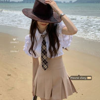 skirt Summer 2021 S. M, l, average size White shirt (with tie) 11118, khaki pleated skirt 11119 Short skirt Versatile High waist Pleated skirt Solid color 18-24 years old 30% and below