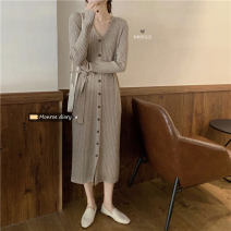 Dress Autumn 2020 Apricot, grey, black, light coffee, dark coffee Average size longuette singleton  commute V-neck High waist Solid color Single breasted A-line skirt 18-24 years old Korean version 30% and below