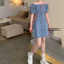 Dress Spring 2021 blue XS,S,M,L,XL Short skirt singleton  Short sleeve commute One word collar High waist Single breasted A-line skirt 18-24 years old Korean version 30% and below Denim