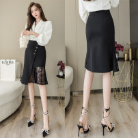 skirt Spring 2021 S,M,L,XL,2XL black Mid length dress gorgeous High waist skirt Solid color Type A 25-29 years old 31% (inclusive) - 50% (inclusive) brocade cotton Asymmetry 351g / m ^ 2 (including) - 400g / m ^ 2 (including)