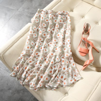 skirt Summer 2020 S,M,L Grey green background printing Mid length dress commute Ruffle Skirt Decor Type A More than 95% polyester fiber