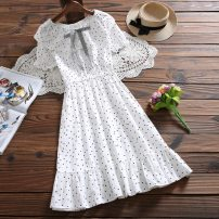 Dress Summer 2020 White, pink S,M,L,XL Short sleeve Sweet Lotus leaf collar middle-waisted Solid color other other raglan sleeve 25-29 years old 71% (inclusive) - 80% (inclusive) polyester fiber