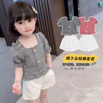 suit Other / other Black, red 80cm,90cm,100cm,110cm,120cm,130cm female summer Korean version Short sleeve + pants 2 pieces Thin money There are models in the real shooting Socket nothing lattice Learning reward stz10005 Chinese Mainland Shanghai