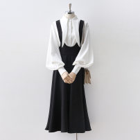 Dress Spring 2020 Black, white S,M,L,XL Mid length dress singleton  Sleeveless commute High waist Solid color Socket A-line skirt camisole 18-24 years old Type A Korean version 51% (inclusive) - 70% (inclusive) other