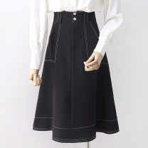 skirt Spring 2020 S,M,L,XL Black, off white Mid length dress commute High waist A-line skirt Solid color Type A 18-24 years old Q9566 Korean version