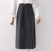 skirt Spring 2021 S,M,L,XL black Mid length dress commute High waist A-line skirt Solid color Type A 18-24 years old 91% (inclusive) - 95% (inclusive) other other Korean version