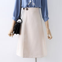 skirt Autumn 2020 S,M,L,XL Apricot, black Mid length dress commute High waist A-line skirt Solid color Type A 18-24 years old 91% (inclusive) - 95% (inclusive) other other Button Korean version