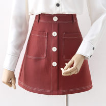 skirt Spring 2021 S,M,L,XL Burgundy, Navy Short skirt Versatile High waist A-line skirt Solid color Type A 18-24 years old Pocket, button