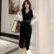 Dress Autumn 2020 Black [fake two] S,M,L,XL Mid length dress Fake two pieces Long sleeves commute V-neck High waist Solid color zipper A-line skirt routine Others 25-29 years old Type X BLINGOR Korean version Gouhua, hollow out, splicing, three-dimensional decoration, zipper, lace brocade nylon