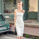 Dress Summer 2020 white S,M,L,XL Middle-skirt singleton  Sleeveless commute square neck middle-waisted Solid color zipper Pencil skirt 18-24 years old Open back, zipper 51% (inclusive) - 70% (inclusive)