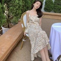 Dress Spring 2021 Picture color M, L Miniskirt singleton  Sleeveless commute square neck High waist Broken flowers Socket Ruffle Skirt other camisole 18-24 years old Type A Korean version 31% (inclusive) - 50% (inclusive) other polyester fiber