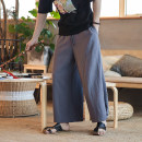 Casual pants Others Youth fashion Dark grey, black, 1 M,L,XL,2XL,3XL,4XL,5XL routine trousers Home Extra wide DS-A453-K36-P60 Four seasons teenagers Chinese style 2018 Medium low back Straight cylinder Haren pants Hem at hem washing Hemp cotton