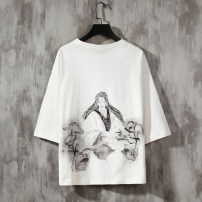 T-shirt Youth fashion White, light gray, black, fruit green, 1 routine M (95-120 Jin), l (120-135 Jin), XL (135-150 Jin), 2XL (150-170 Jin), 3XL (170-185 Jin), 4XL (185-200 Jin), 5XL (200-225 Jin) Others three quarter sleeve Crew neck easy Other leisure summer T01 Cotton 100% youth Bat sleeve cotton