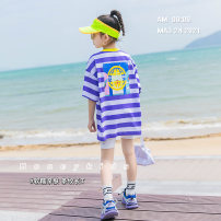 T-shirt violet Other / other 120 cm, 120 cm, 120 cm, 120 cm, 120 cm, 120 cm, 120 cm, 120 cm, 120 cm, 120 cm, 120 cm female summer Short sleeve Crew neck Korean version There are models in the real shooting nothing cotton stripe Cotton 98% polyester 2% Class B
