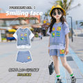 suit Other / other grey 110cm,120cm,130cm,140cm,150cm,160cm female summer leisure time Short sleeve + pants 2 pieces Thin money There are models in the real shooting Socket nothing Cartoon animation cotton Class B Cotton 95% polyester 5%