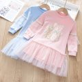 Dress Pink, light blue, light yellow female Other / other 100cm,110cm,120cm,130cm,140cm,150cm,160cm Cotton 100% spring and autumn Korean version Long sleeves Cartoon animation cotton A-line skirt Class B Three, four, five, six, seven, eight Chinese Mainland Zhejiang Province Huzhou City