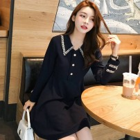 Dress Autumn 2020 black S, M Middle-skirt singleton  Long sleeves Sweet Polo collar High waist Solid color Socket A-line skirt routine 18-24 years old Type A 31% (inclusive) - 50% (inclusive) other polyester fiber Mori