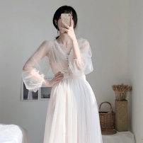 Dress Summer 2021 Two piece set S,M,L,XL longuette Two piece set Long sleeves commute V-neck High waist Solid color Socket Princess Dress Retro SS20888# 71% (inclusive) - 80% (inclusive) Lace