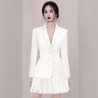 suit Winter 2020 white S,M,L,XL Long sleeves Medium length Self cultivation tailored collar Single breasted commute routine Solid color 31% (inclusive) - 50% (inclusive) polyester fiber Lace up, button, mesh, zipper, stitching, pleating