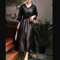 Dress Spring 2021 black S,M,L,XL singleton  commute High collar middle-waisted Solid color Socket routine More than 95% silk