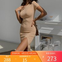 Dress Summer 2021 Black, orange, black, orange XS,S,M,L Mid length dress singleton  Short sleeve commute Crew neck High waist Solid color Socket A-line skirt routine Others Type A Other / other Simplicity Q0267 knitting cotton
