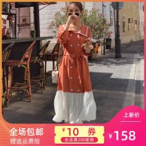 Dress Spring 2021 Orange, black S,M,L Mid length dress singleton  Long sleeves commute Admiral High waist A-line skirt 18-24 years old Korean version Pleating, pleating, stitching, buttons ZB042 - two thousand one hundred and one # 02